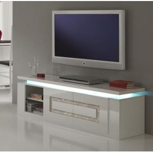 Garde Tv Stand In White Gloss And Diamante With Lights