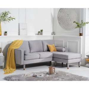 Garren Reversible Three Seater Chaise Sofa In Grey Linen