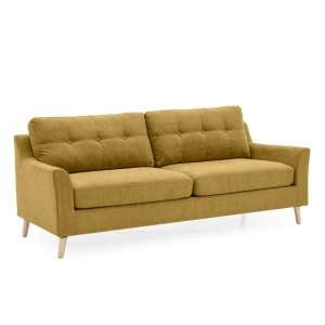 Garrick Fabric 3 Seater Sofa In Citrus With Wooden Legs