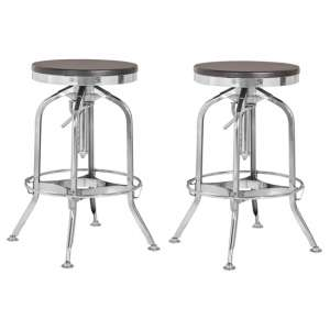Diwo Silver Chromed Bar Stools With Ash Wood Seat In Pair