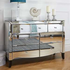 Gatsby Mirrored Wide Chest Of Drawers With 7 Drawers