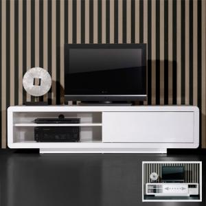 Genesis Plasma TV Stand In White High Gloss With Sliding Door