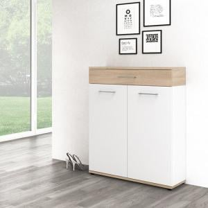 Geneva Modern Shoe Storage Cabinet In Sonoma Oak And White