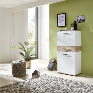 Geneva Modern Shoe Cabinet In Sonoma Oak And White