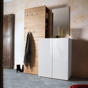 Genie Hallway Set 1 In White High Gloss And Natural Oak