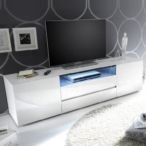 Genie TV Stand In High Gloss White With 2 Drawers And LED