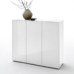 Genie Wide Shoe Cabinet In White High Gloss With 3 Doors