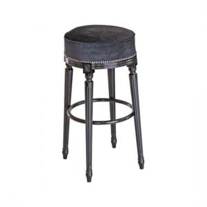 Georgian Bar Stool In Velvet Style Seat With Fluted Legs