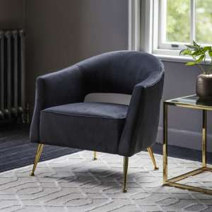 Gerania Velvel Arm Chair In Black With Gold Metal Legs