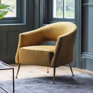 Gerania Velvel Arm Chair In Gold Finish With Metal Legs