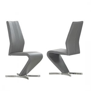 Gia Dining Chairs In Grey Faux Leather In A Pair