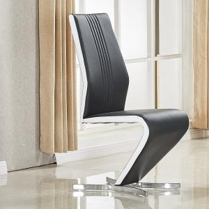 Gia Dining Chair In Black White Faux Leather With Chrome Base
