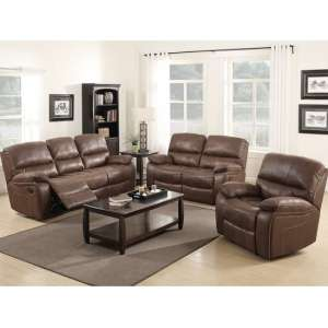 Giana Modern Recliner Sofa Suite In Chocolate Faux Leather