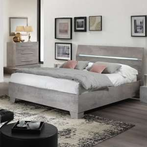 Gianna Modern Double Bed In Grey Marble Effect Gloss