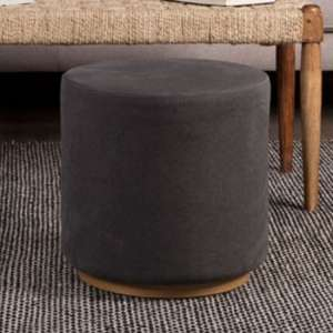 Giausar Round Soft Fabric Upholstered Stool In Grey