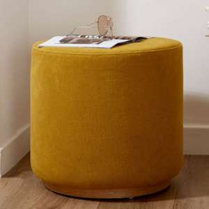 Giausar Round Soft Fabric Upholstered Stool In Yellow