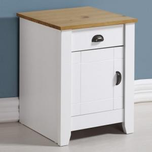 Gibson Wooden Bedside Cabinet In White And Oak