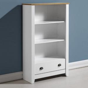 Gibson Wooden Bookcase In White And Oak With 1 Drawer