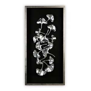 Ginkgo Silver Painting Wooden Wall Art In Black Frame