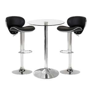 Gino Bistro Bar Table With 2 Black Leather Nigella Stools
