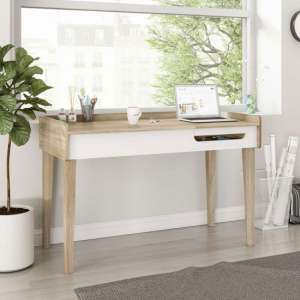 Giru Wooden Laptop Desk In Sonoma Oak And White