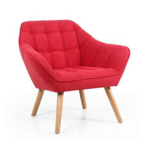 Giselle Fabric Bedroom Chair In Scarlet Red With Wooden Legs