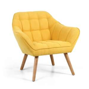 Giselle Fabric Bedroom Chair In Yellow With Wooden Legs
