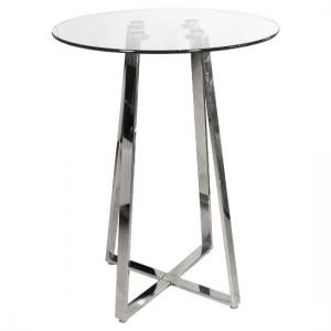 Poseur Bar Table Round In Clear Glass With Chrome Base