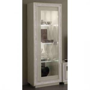 Gloria Display Cabinet In White Gloss With Crystals And LED