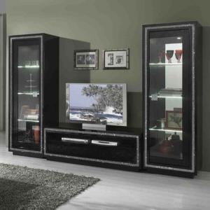 Gloria Living Room Set In Black Gloss And Crystals With LED