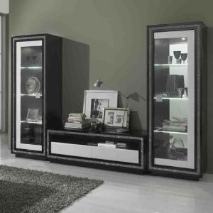 Gloria Living Room Set In Black And White High Gloss With LED