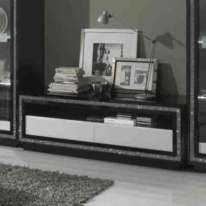Gloria TV Stand In Black And White High Gloss With Crystals