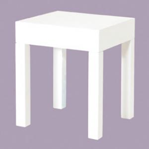 Linea Square End Table Large In White High Gloss