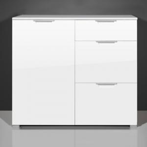 Event Small Sideboard In Gloss White With 1 Door And 3 Drawers