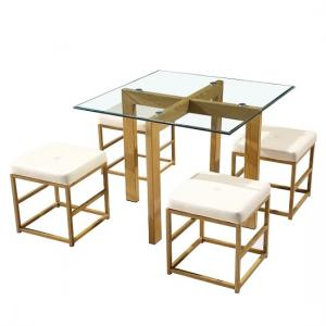 Gloucester Glass Dining Set With Cream Faux Leather Stools