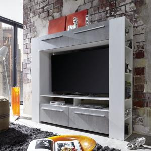 Glymer LCD TV Stand In White With Gloss Fronts And LED_5
