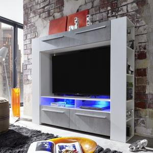 Glymer LCD TV Stand In White With Gloss Fronts And LED_4