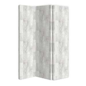 Gosselin Canvas Room Divider Screen In Distressed Wood Design