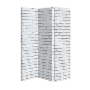 Gossette Canvas Room Divider Screen In White Brick Design