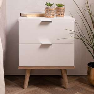 Gotery Wooden Bedside Cabinet In Sonoma Oak And White