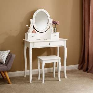 Grace Wooden LED Dressing Table In White With 1 Drawer