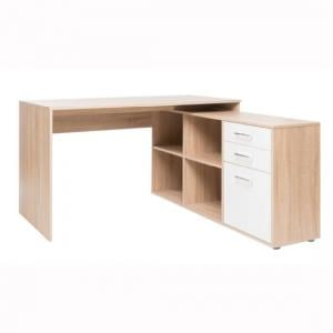 Grafit Corner Computer Desk In Sonoma Oak With White Front