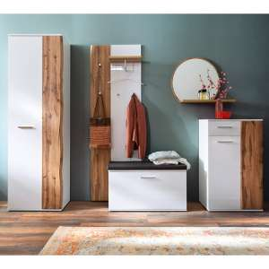 Granada Hallway Set In White Gloss And Walnut With Wardrobe