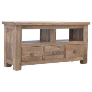 Granary Wooden TV Stand In Oak Ish With 3 Drawers