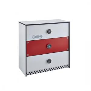Grand Prix Childrens Chest of Drawers In Red And White_1