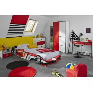 Grand Prix Childrens Chest of Drawers In Red And White_2