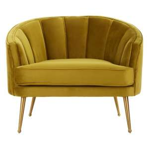 Dubhe Velvet Tub Chair In Pistachio With Gold Finish Legs