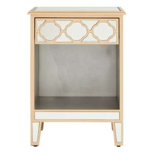 Dziban MDF Side Table With Mirrored Glass And Wood Legs