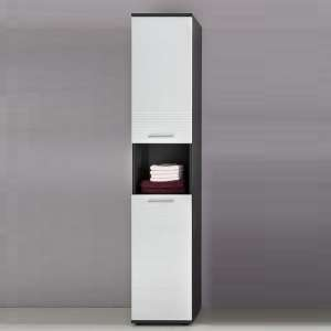 Greeba Tall Storage Cabinet In Grey And High Gloss White Fronts