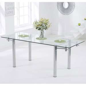 Grenada Glass Extending Dining Table In Clear With Metal Legs